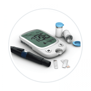 a picture of a glucometer and blood sugar checking supplies